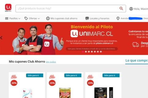 Así luce el piloto de Unimarc.cl, el primer e-commerce de este supermercado.
