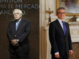 Joaquín Cortez, presidente de la CMF; y Mario Marcel, presidente del Banco Central