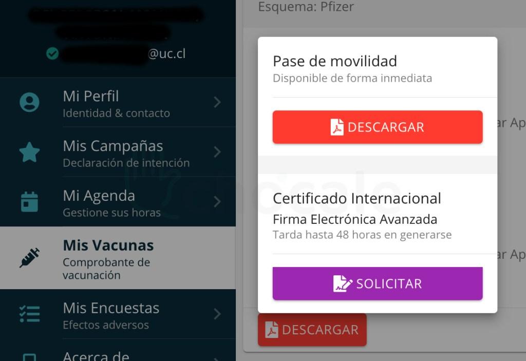 Certificado Internacional de Vacunación de Chile