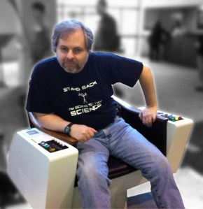 "Shok sitting in a Captain's Chair replica based on the original ""Star Trek"""