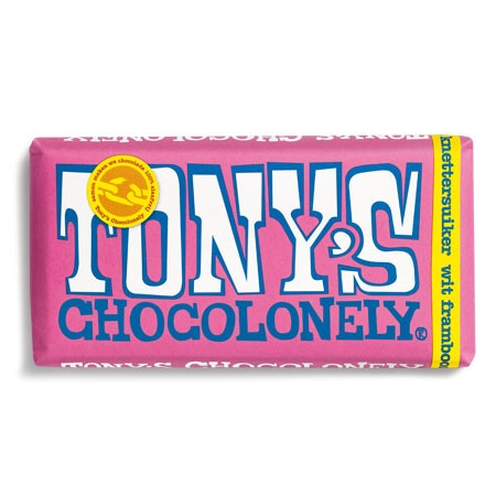 Tony's Chocolonely wit framboos knettersuiker 180gr