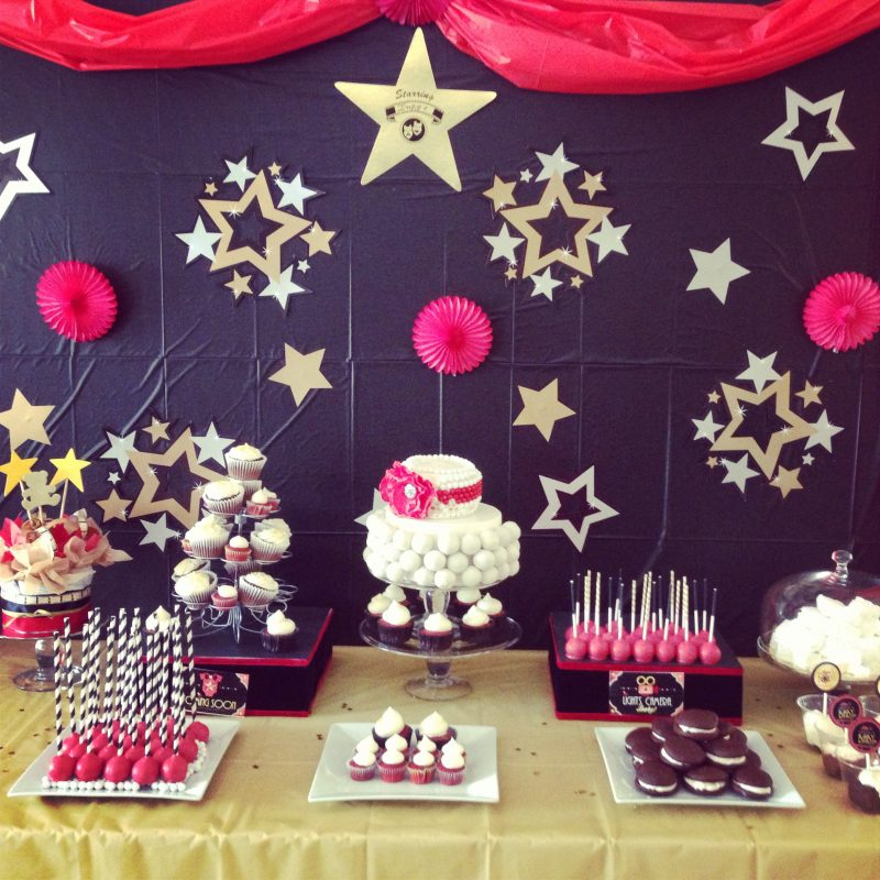 a star is born sweet table, red black and gold baby shower, montreal sweet table