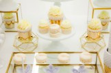 gold white cupcakes, sweet table montreal