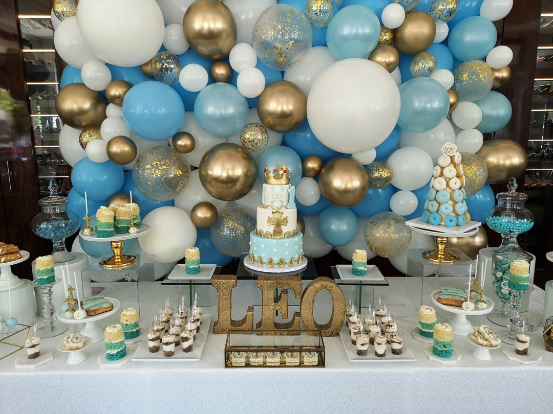 blue sweet table, baby shower sweet table, baptism sweet table