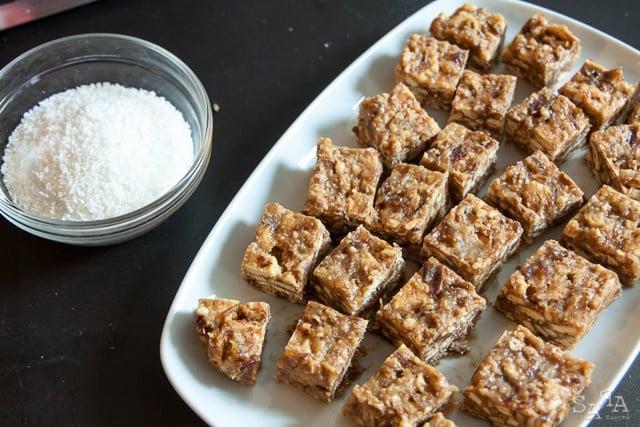 Quadrados doces de tâmaras