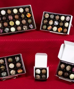 an assortment of chocolate truffle boxes in four, six, twelve, fifteen and twenty-four-piece sizes
