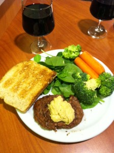 I spy with my vegetarian eye: yes, a grass fed meat burger! :O