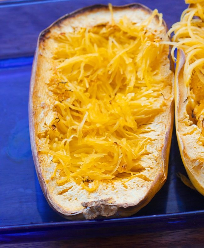 Spaghetti Squash Loaded With Flavorful Pesto And Lots Of Sliced Sausage An Easy Healthy