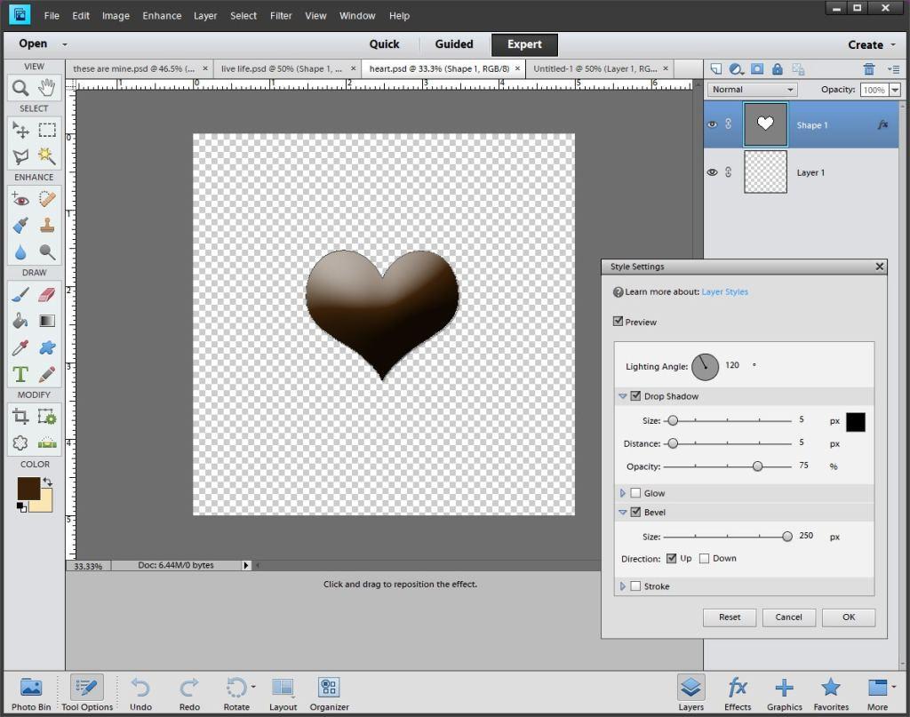 Photoshop Heart Bevel Style Settings