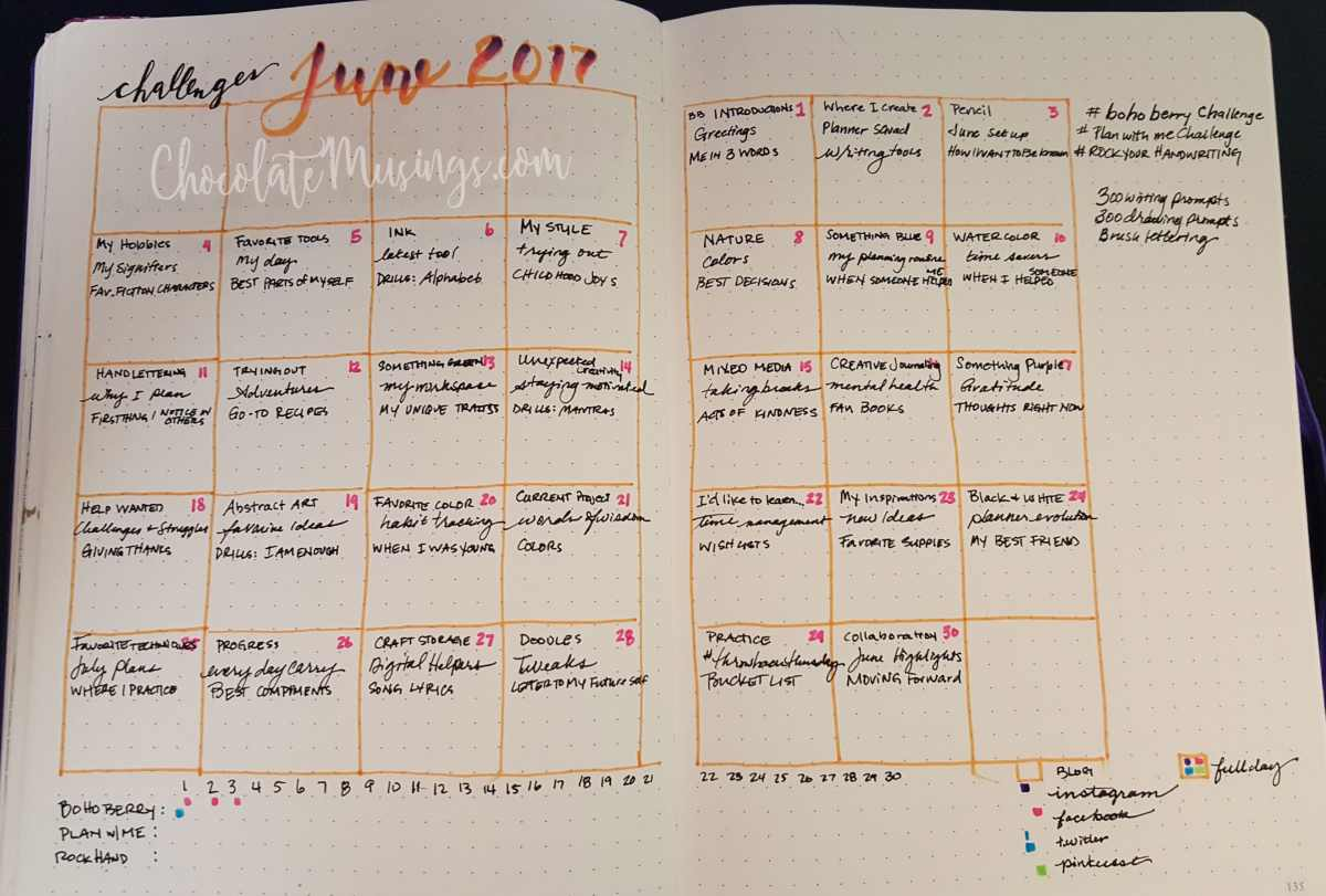 Bullet Journal Challenge Tracking Calendar
