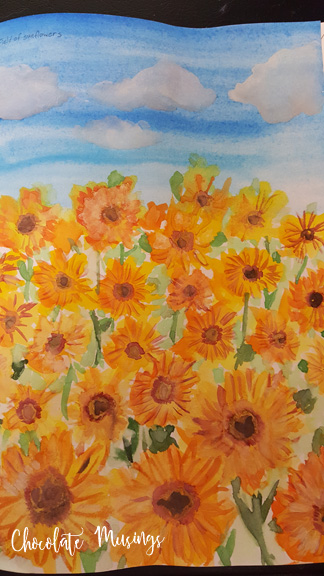 Watercolor challenge - my first ever watercolored image! Sunflowers