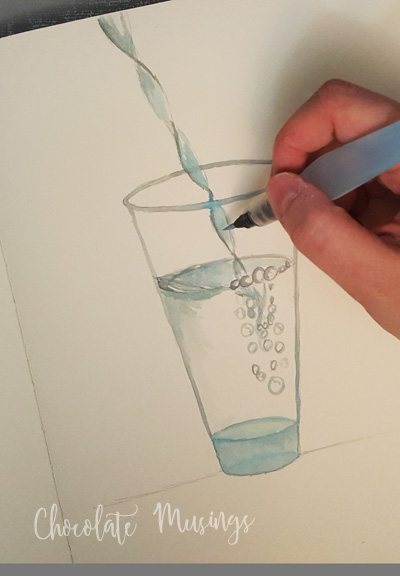 Painting process of the water in the glass