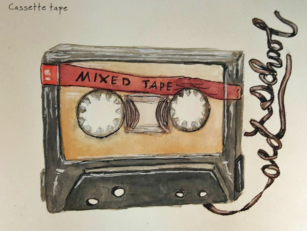 old school cassette tape drawing