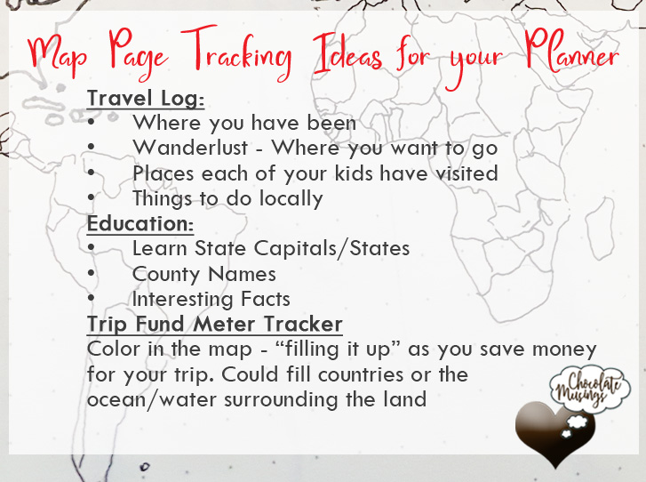 Map Page Tracking Ideas for your Planner