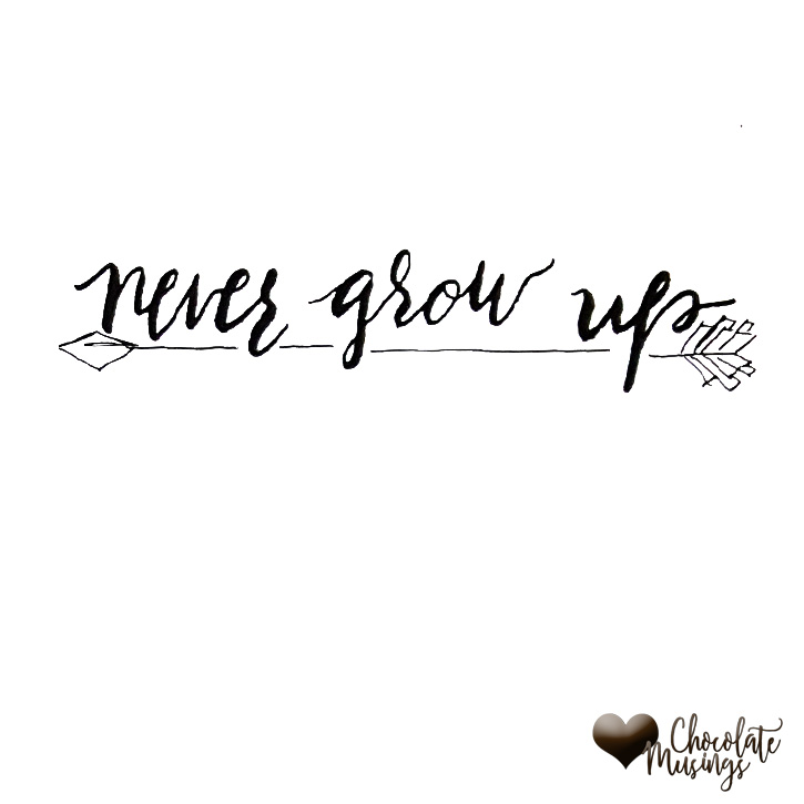 Never Grow Up quote, arrow doodle