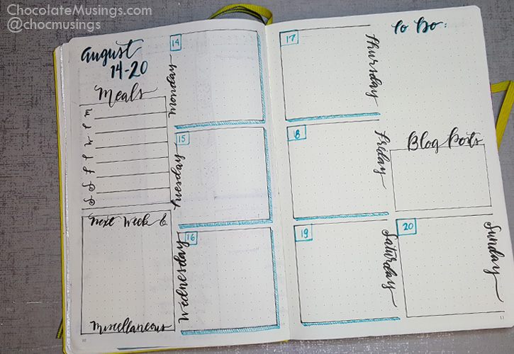 minimal weekly squared layout 12x12 squares down the center of the page with lettered days of the week