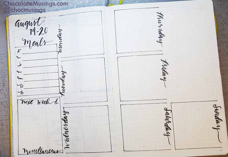 minimal Pencil weekly squared layout 12x12 squares down the center of the page with lettered days of the week