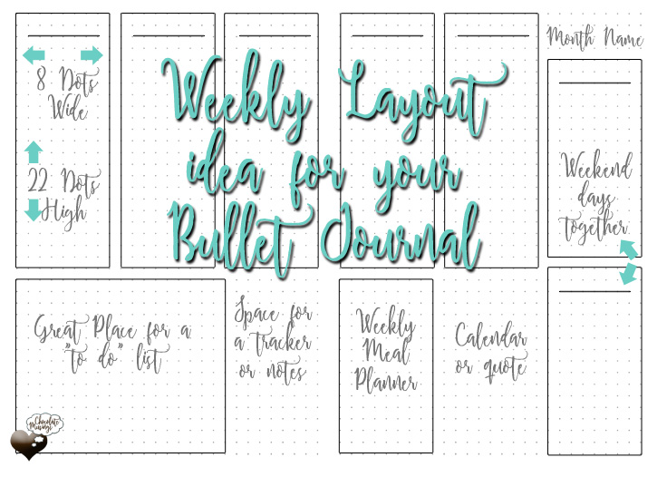 Weekly Vertical Bullet Journal Layout - Monday week start