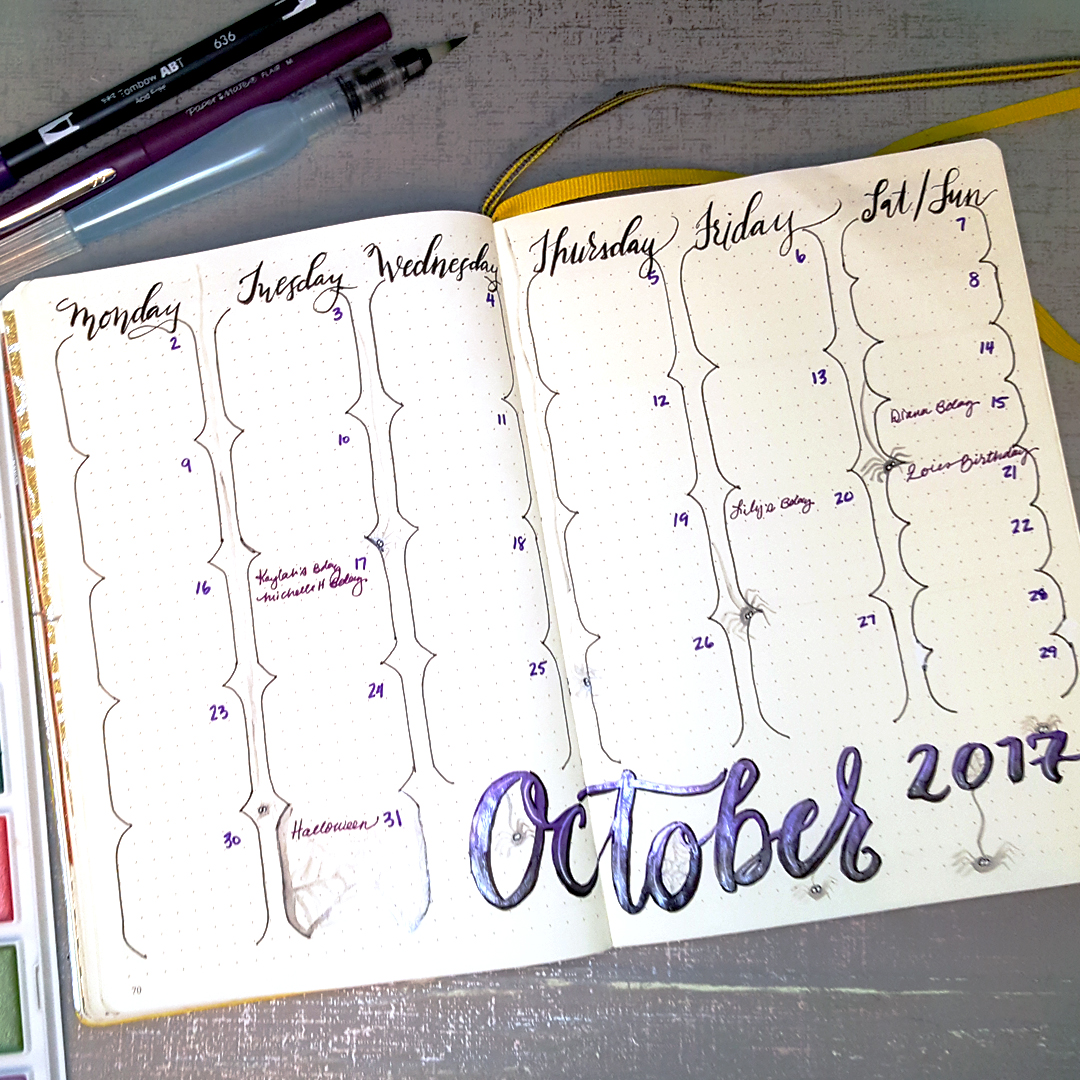 Near-Minimalist Monthly Spread with Rounded corners