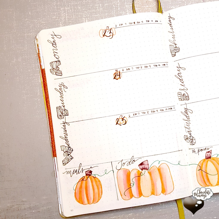 Left side weekly spread view, pumpkin details and time blocking are sure to warm up that inspiration | Chocolate Musings