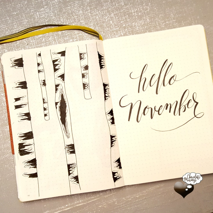 November Title Page | Simple black and white Hello November with elegant handlettering text and aspens