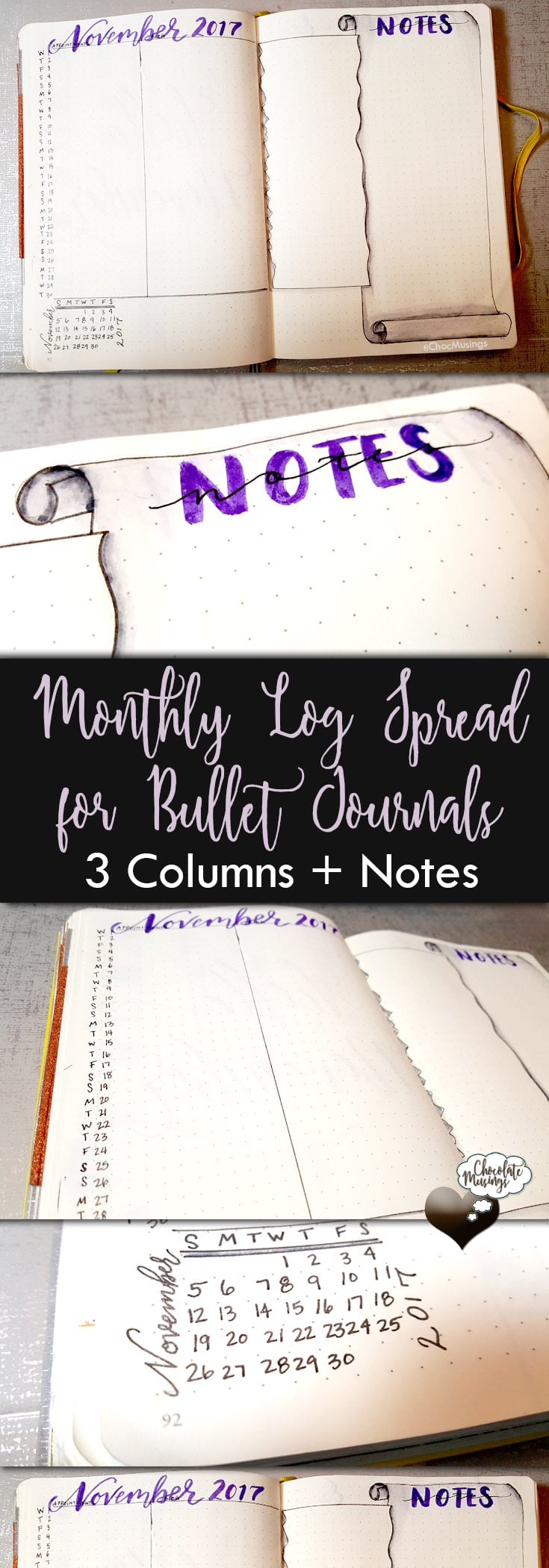 Monthly Spread - Simplify your monthly calendar with a monthly log spread 3 columns + notes (or 4 column spread)