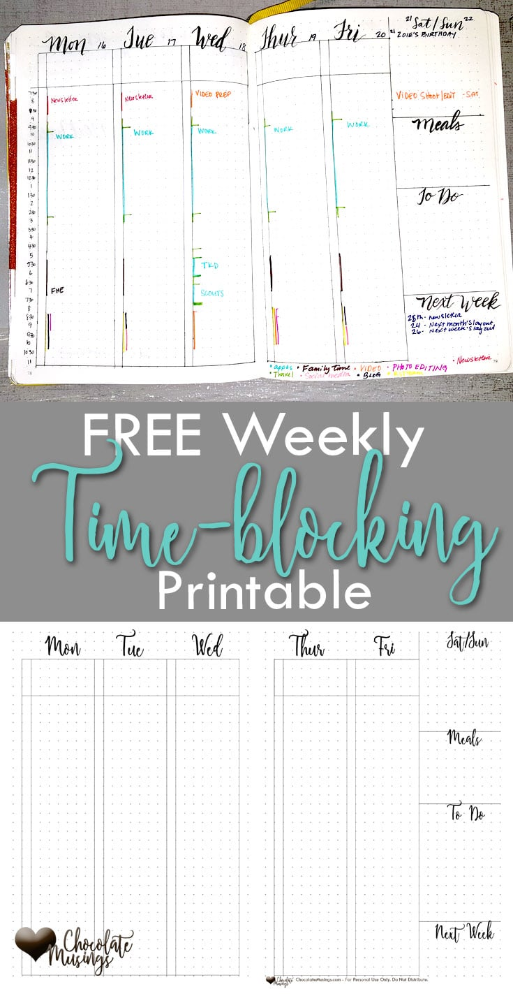 Free weekly vertical time-blocking printable for your bullet journal {click for video set up & printable}