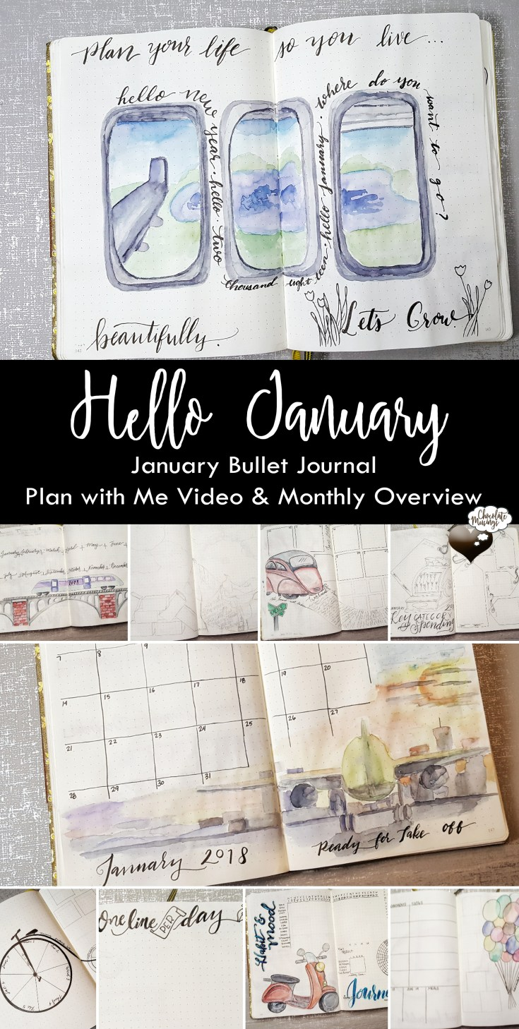 January 2018 Sneak Peek of the Spreads for the month + Plan with Me Video - watercolor with crayola supertips, New Year Bullet Journal Planning #weekly #monthly #bulletjournal #spreads