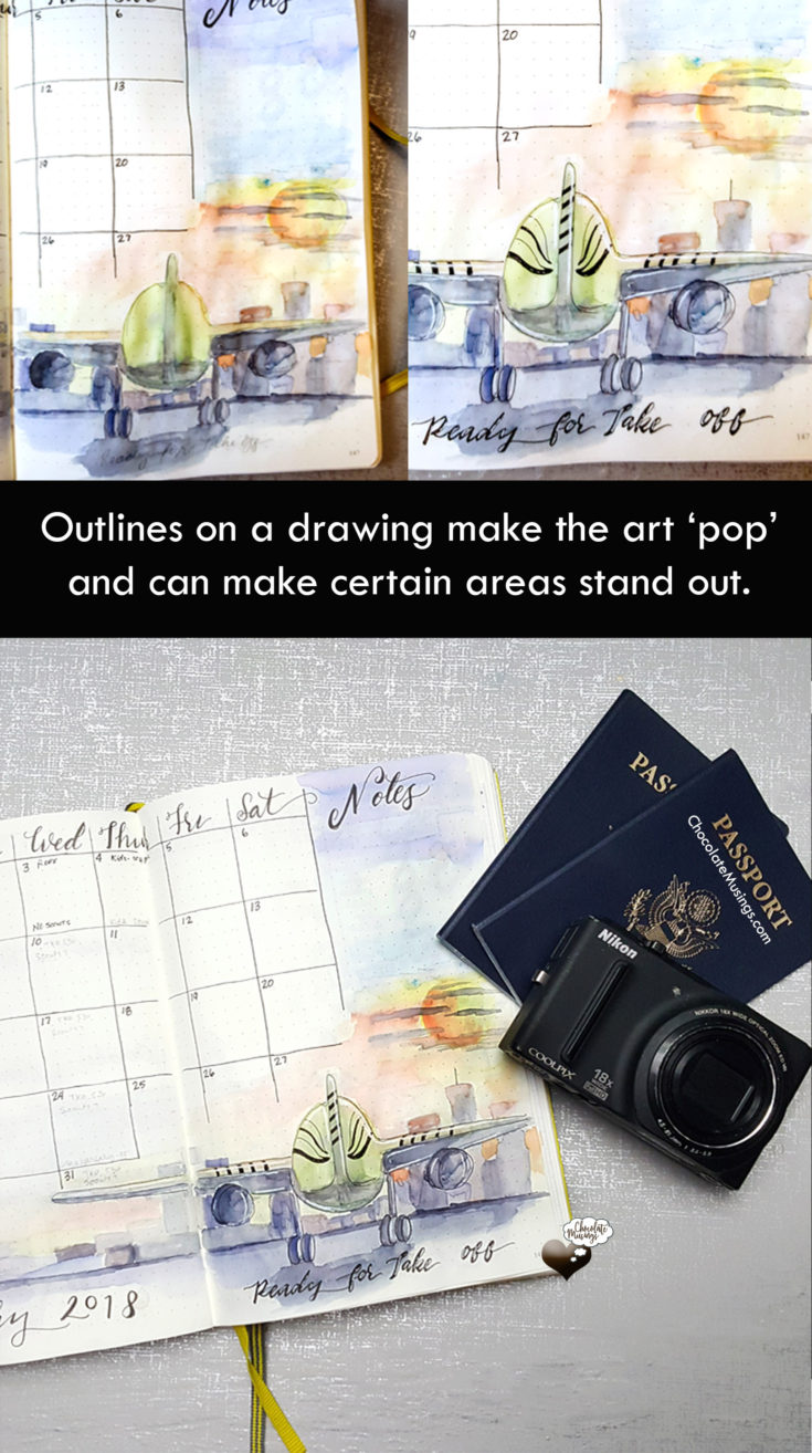 Bullet Journal Changes - January 2018 Review - outlining art makes it 'pop'