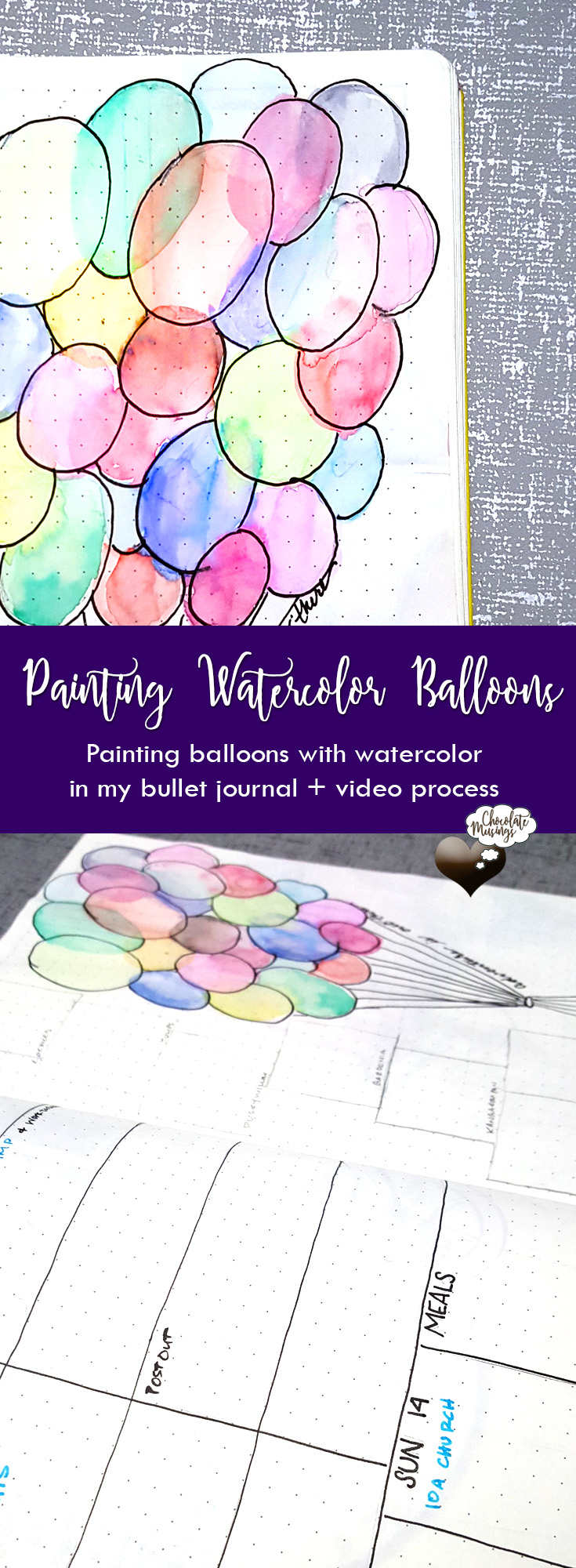 learning to paint watercolor balloons in my bullet journal - weekly layout, crayola markers, + process video
