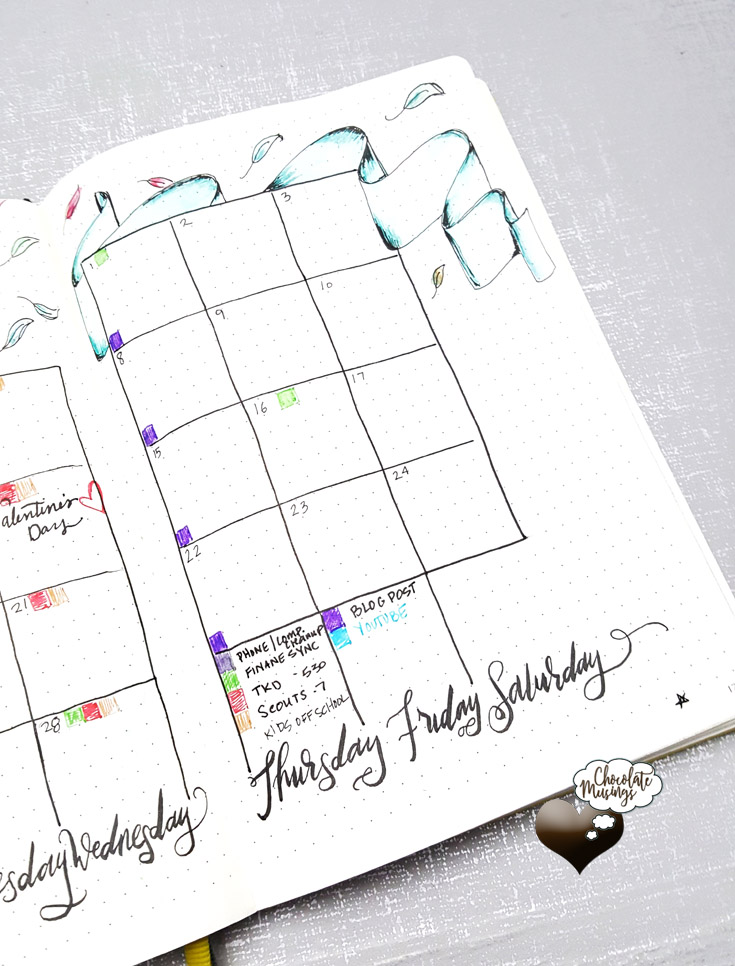 Monthly Calendar Doodles with banner and color-coded recurring appointments + video walk-through