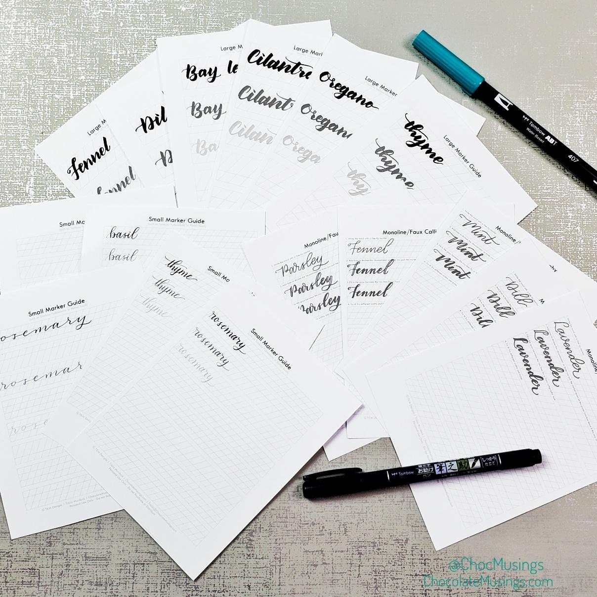 Lettering Practice Words: