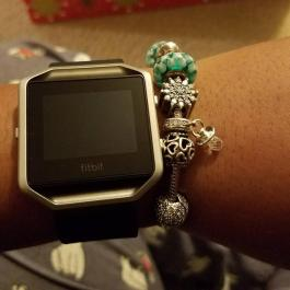 Fitbit Blaze on you ass! and my new pacifier charm! Thanks baby!