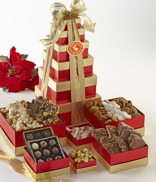 Regal Red Tower Of Treats Custom Handmade Chocolates