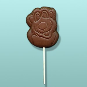 Chocolate Smiling Bear Head Lolly