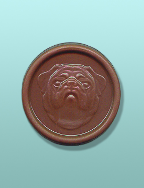 Chocolate Bulldog Head Medallion Favor