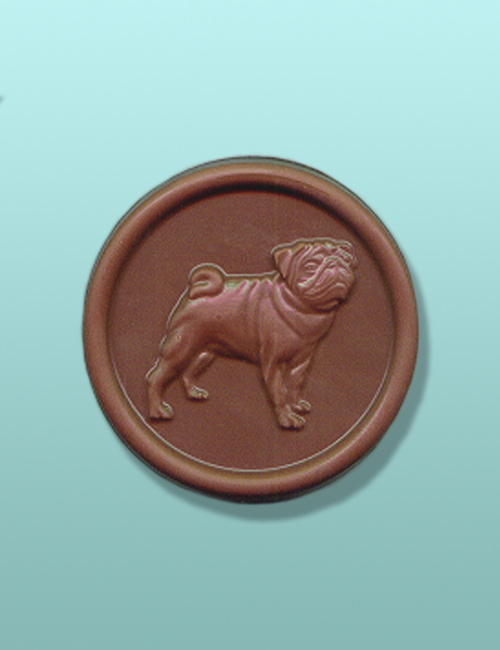 Chocolate Pug Dog Medallion Favor