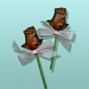 Chocolate Rose Long Stem Party Favor