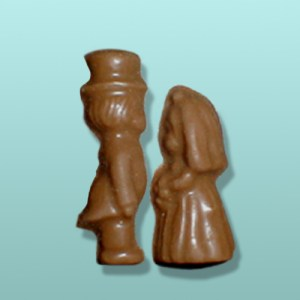 2 pc. Chocolate Bride and Groom Mini Couple