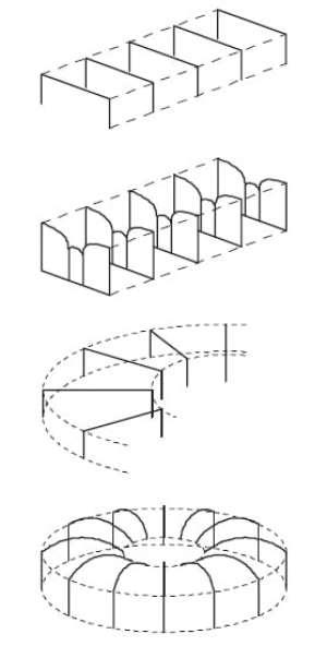 Kształtowanie hali poprzez powtarzającą się płaską ramę
