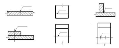 Przykłady położenia strzałki i półki odniesienia