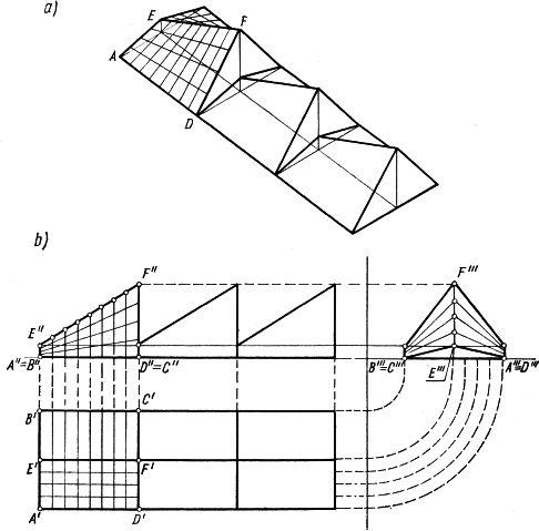 Dach z pionowymi swietlikami, złożony z sześciu podstawowych płatów