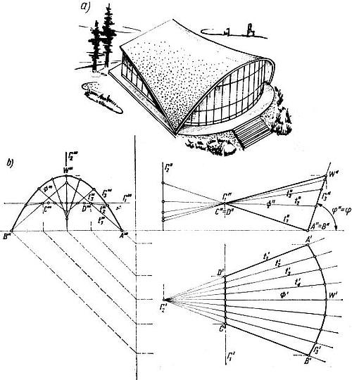 rojekt przekrycia z płatem kwadryki z dwiema liniami podwójnymi