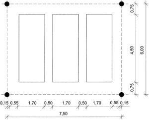 Rys.9 Moduł 3 stanowik w siatce słupów 6 x 7,5 m