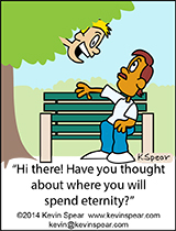 Cartoon of a guy sitting on a park bench. Another guy pops out of a tree and says,