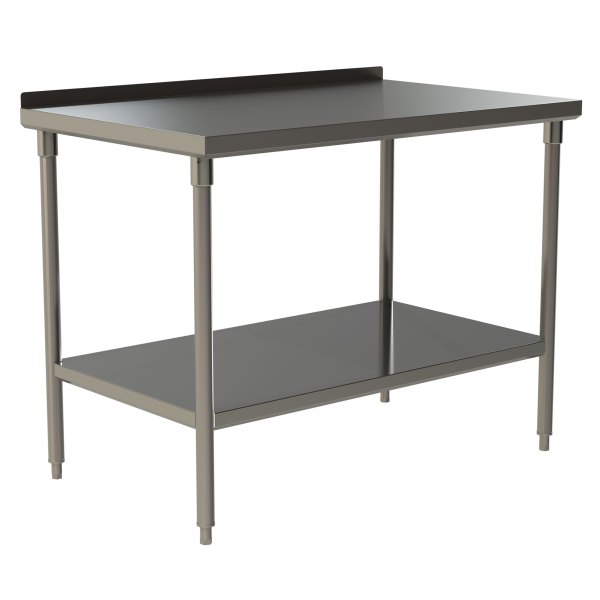 """Heavy Duty Work Table with 1.5"""" Backsplash and Stainless Steel Under Shelf"""