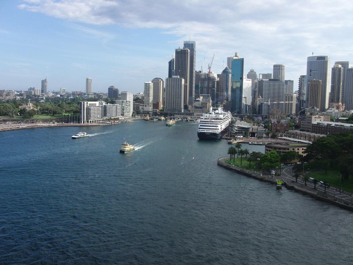 Blick von der Harbour Bridge zum Circular Quay