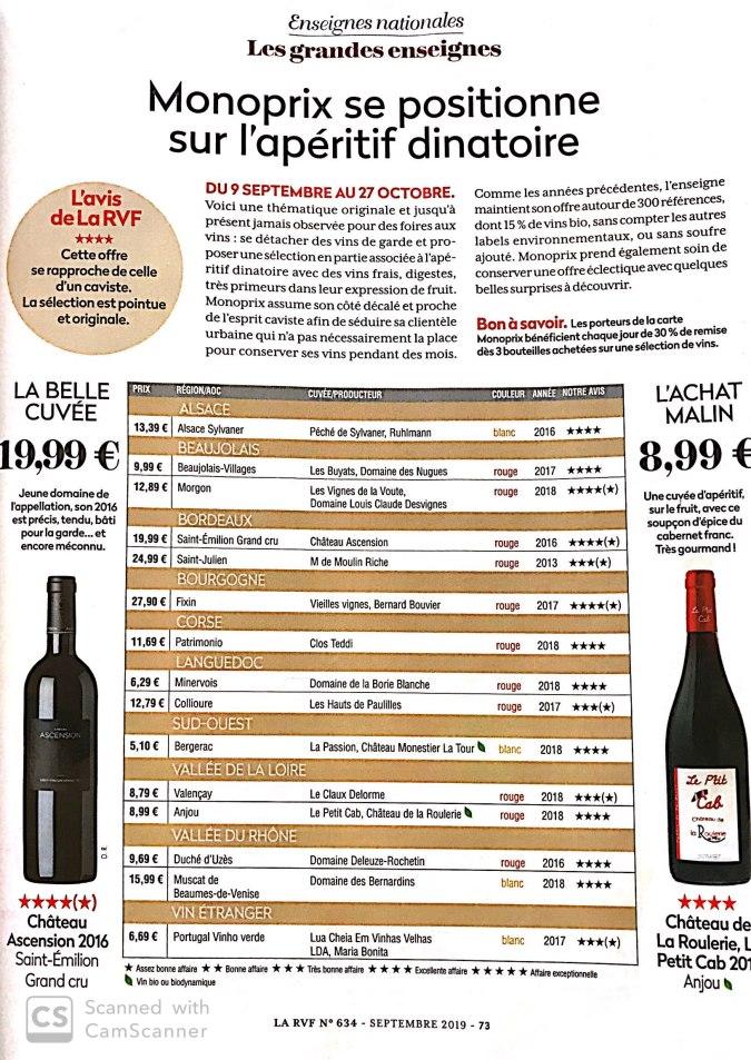 foire aux vin Monoprix 2019 revue des vns de france