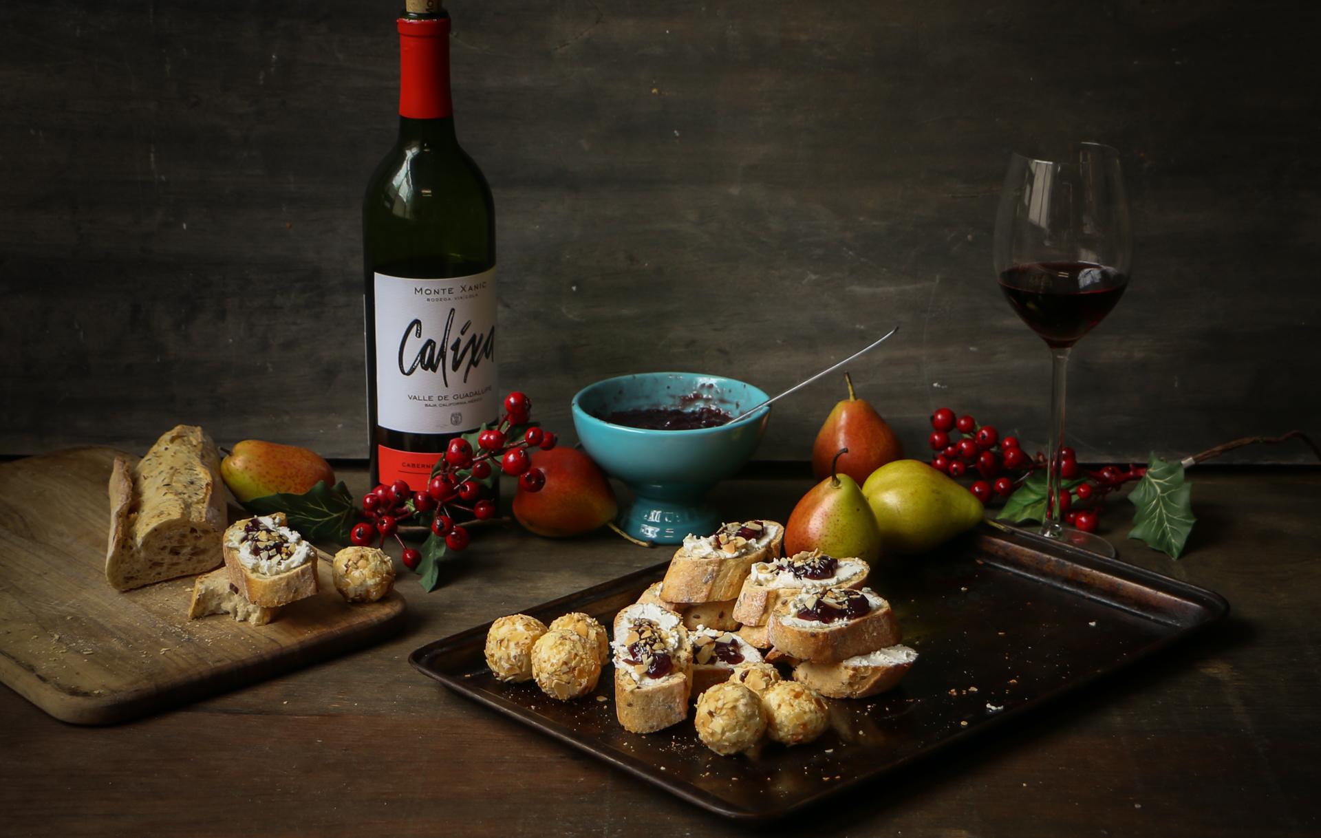 trufas de queso de cabra y vino tinto chokolat pimienta