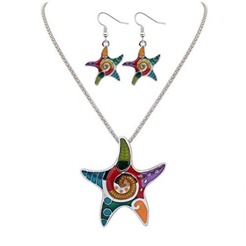 Tinksky Cadena de cuello de collar de cinco puntos estrella colgante
